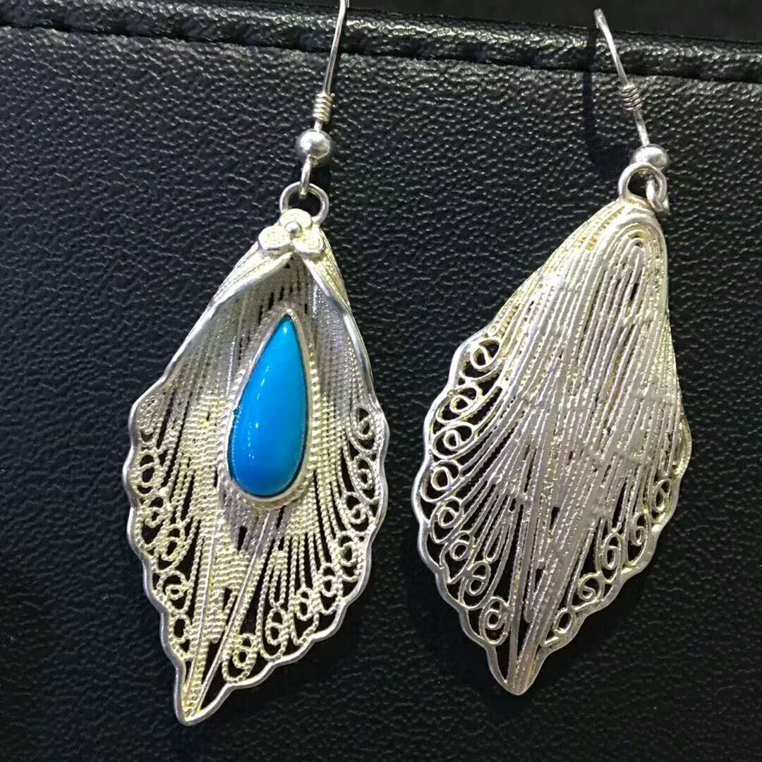 Wholesale natural turquoise earrings with 925sterling silver cheap price high quality earrings