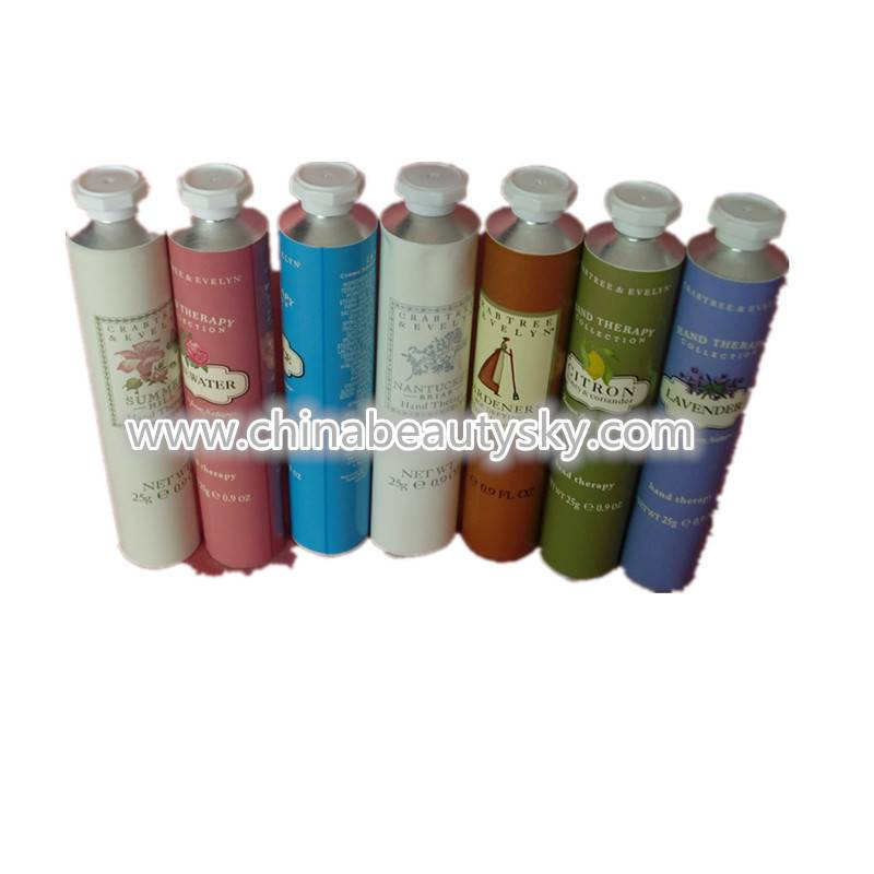 Metal hand cream colored tubes