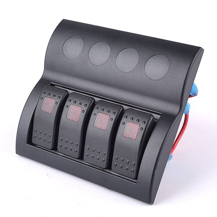 Water Resistant marine switch panel circuit breaker marine  with red led 4 gang
