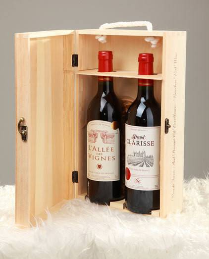 Wooden Wine Box For 2 Bottles Wood Wine Case Package For
