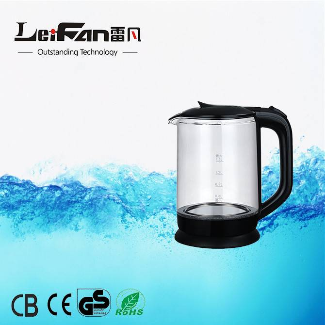 New on sales 1.5 liter high quality single wall electric glass kettle