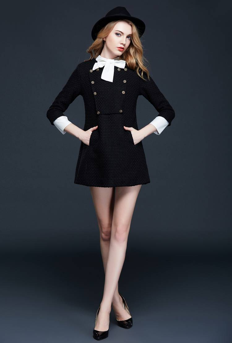 Europe winter 2015 new European high-end clothing wholesale collar bow A word skirt wool dress