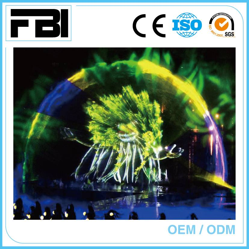 colorful laser show, outdoor fountain