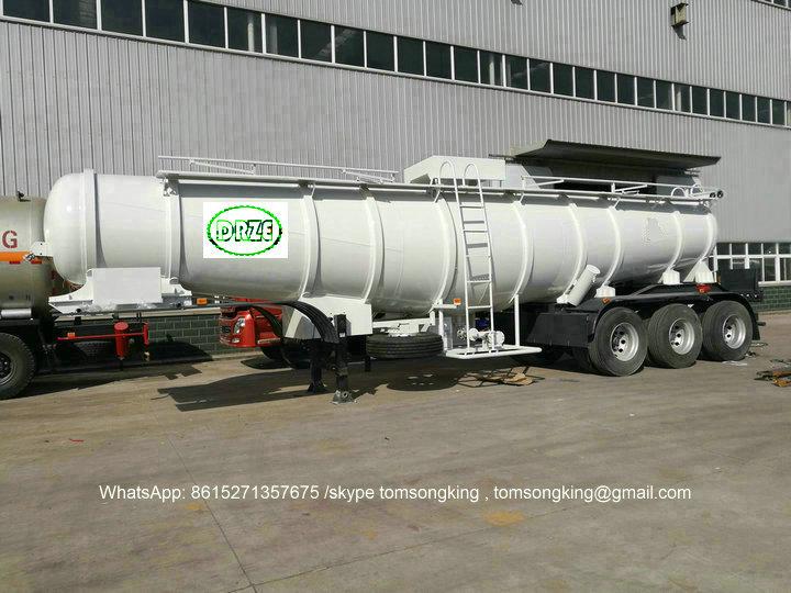 Sulfuric Acid Tank Semi Trailer Specialized Designed For Zambia