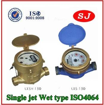 Single Jet Water Meter Wet Dial Rotary Vane Wheel LXS-13D LXSY-13D