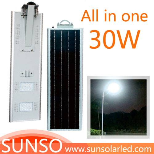 30W All in one solar powered LED Wall mounted, Park, Villa, Village light with motion sensor functio