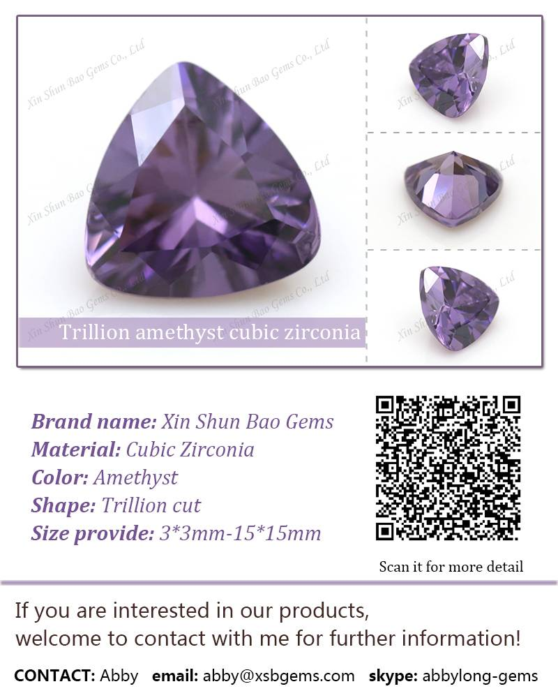 Trillion cut CZ amethyst synthetic diamond