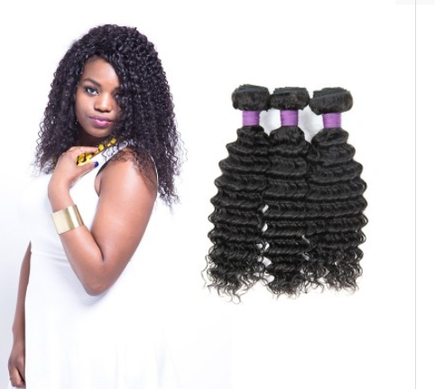 [9A]3 Bundles Brazilian Deep Wave Hair Weave