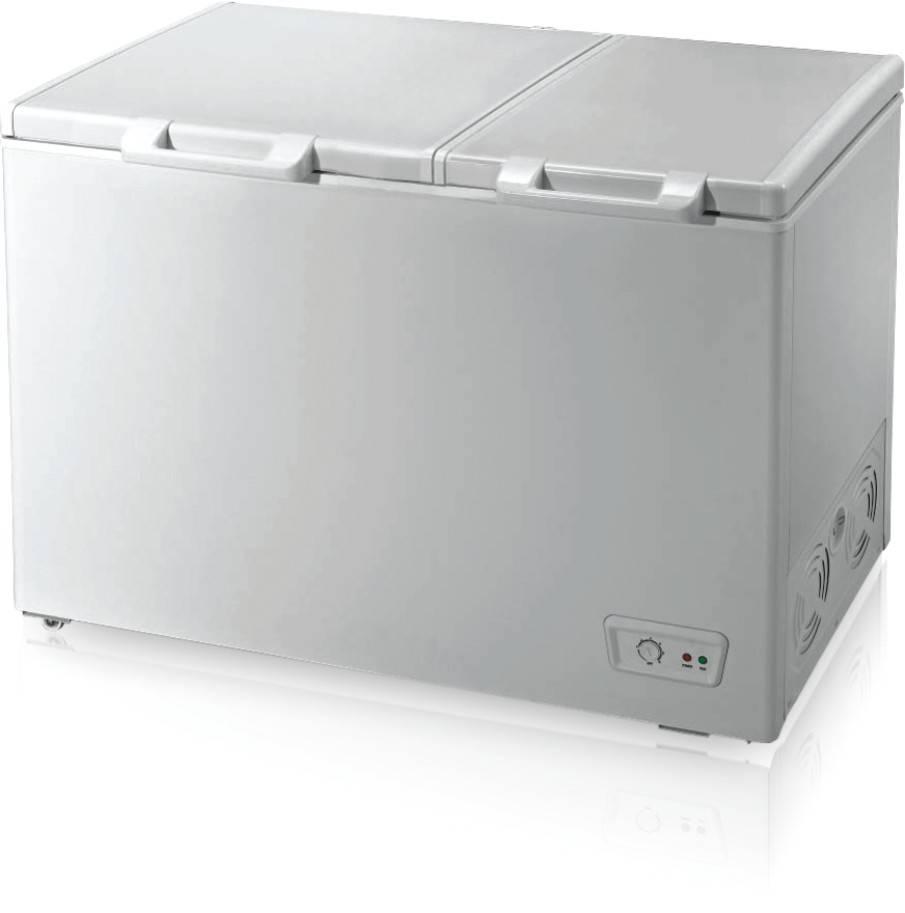 280L double door & double compartments chest freezer