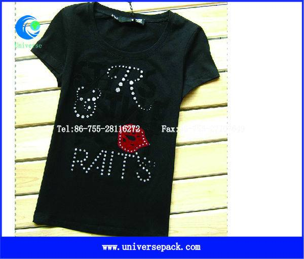 Customzied  cotton spandex  short  sleeve  ladies  studded  t-shirt