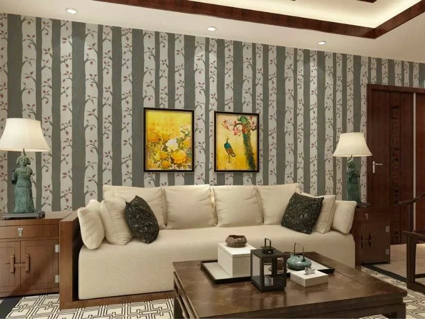 Fresh Green Tree Design Nonwoven Foaming Wallpaper for Sale