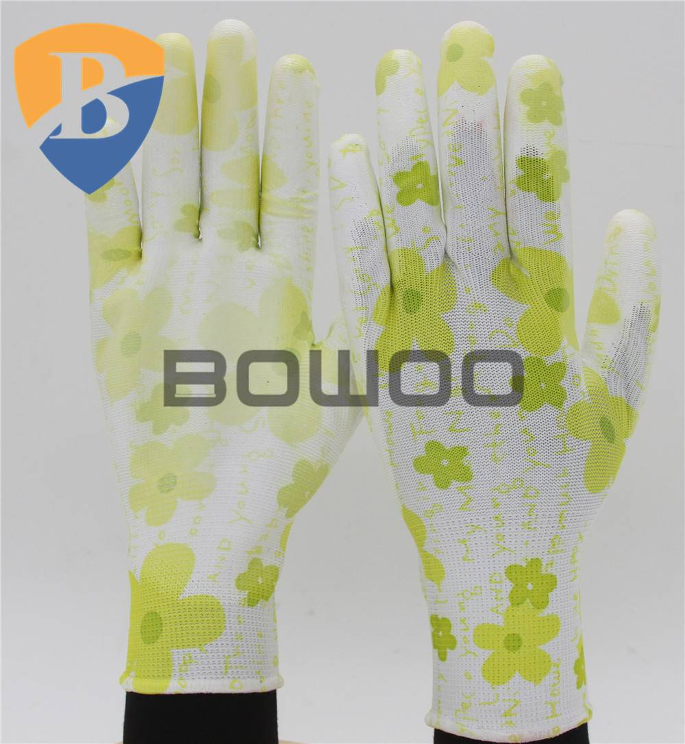 13G polyester liner PU coates safety work glove with pattern