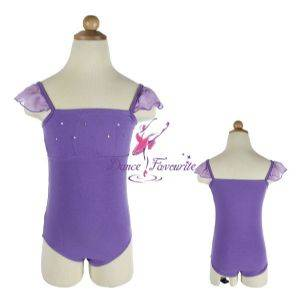 Child chiffon puff sleeve leotard