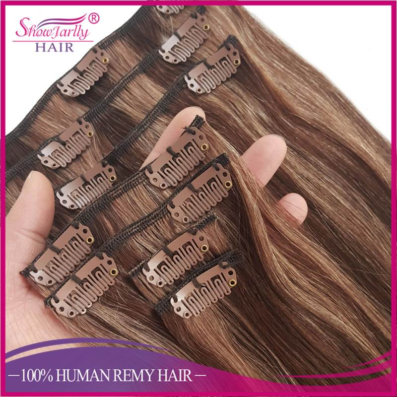 Wholesale Human Hair Clip In Extensions Cheap Price P4/8# mixed Color Clip In Hair Extension