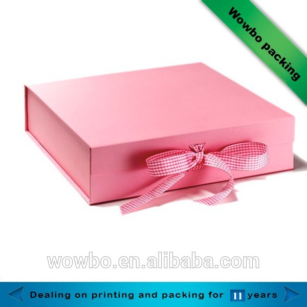 Pink book shape foldable gift box packaging box with ribbon