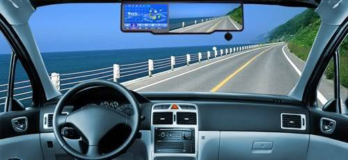 """4.3"""" GPS System Rearview Mirror Monitor with Bluetooth"""