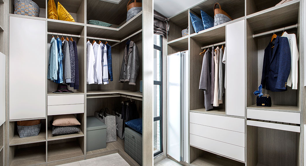 White and Grey Galley Walk in Closet PLYJ17017-057