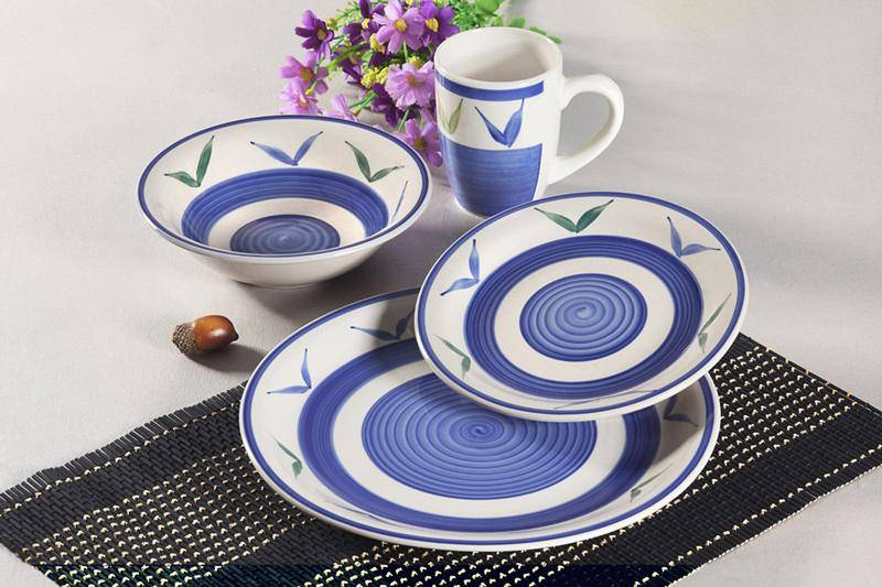 Hand painted 16pcs stoneware dinnerware set
