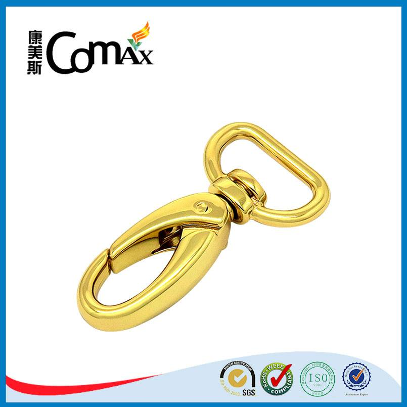 Newest design gold color metal d ring snap hook for bag
