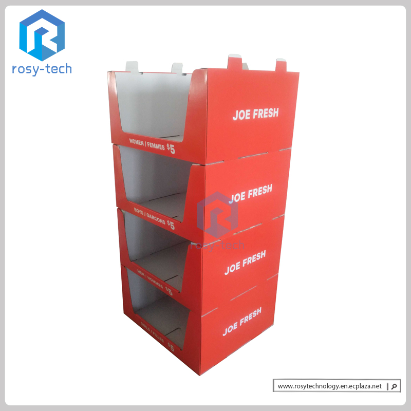 Wholesale Corrugated Cardboard Stacker Display Stand for Clothes/ Socks/ Pants