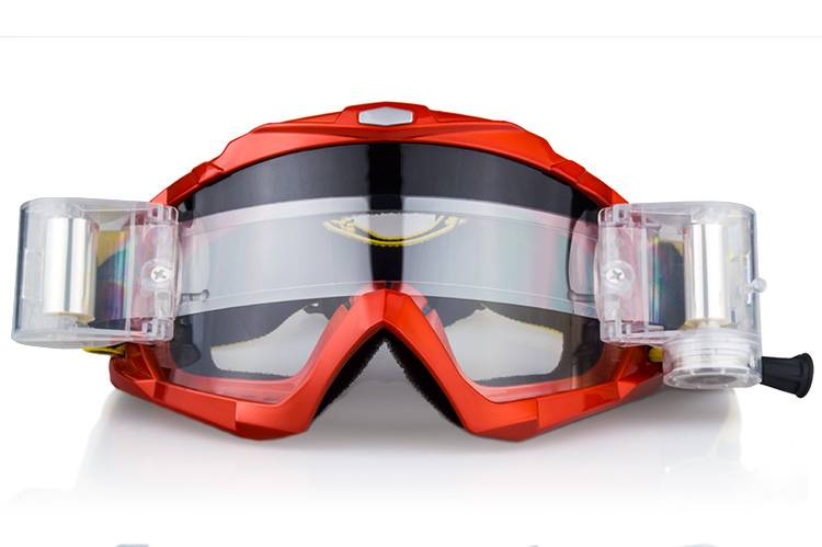 Unisex clear PC lens roll off motorcycle goggles