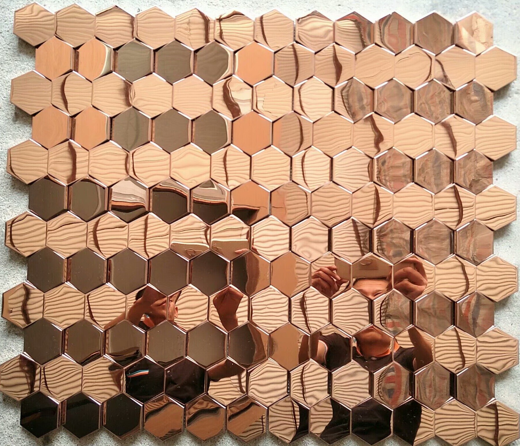 Hexagon antique cooper tiles