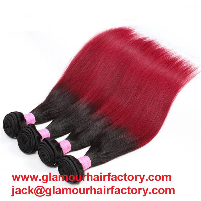 1B 99J Two Toned Brazilian Straight Hair Burgundy Ombre hair Weave hair bundle