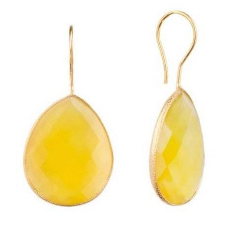 925 sterling silver Yellow Chalcedony Gemstone Earring-Vermeil Gold