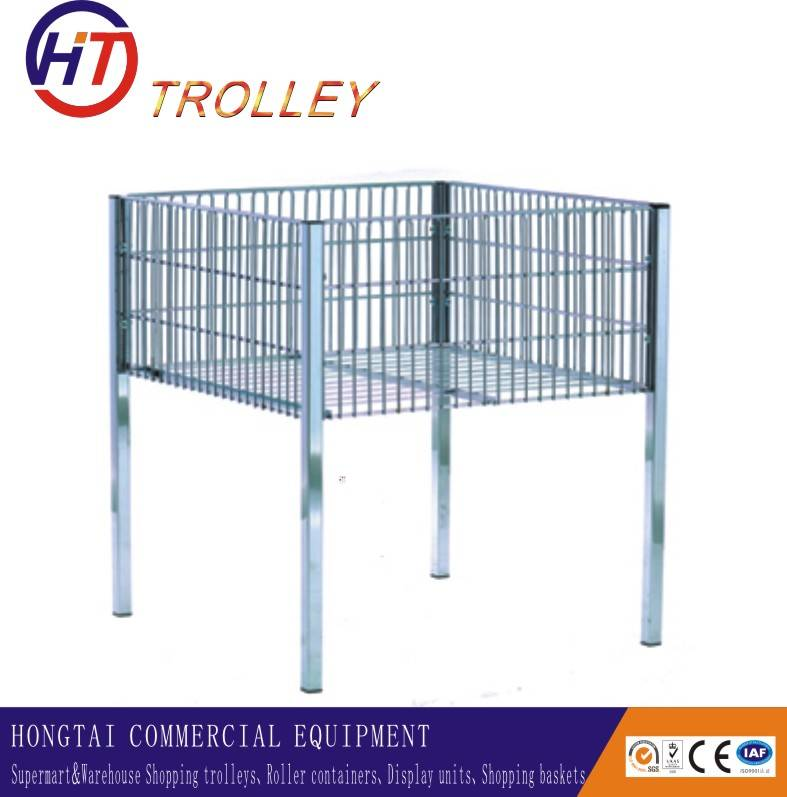 Metal Wire Display Cage Of Sample Display Racks Shopping Trolley