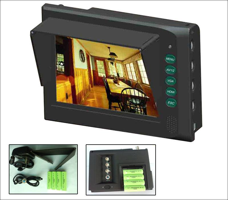 5.6 inch NTSC/PAL auto recognition monitor with 2 BNC, 1HDMI, 1VGA input and 1 Audio input