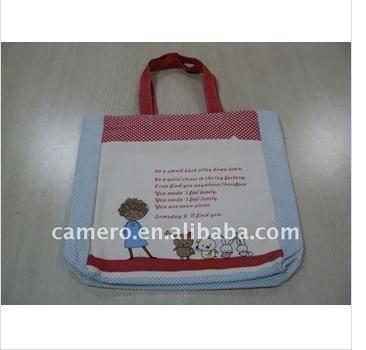 Animal printing Canvas Tote Bag with Outside Pocket