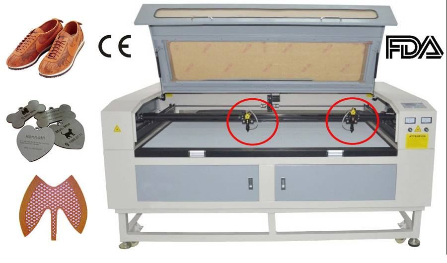 Double Heads PU Laser Cutting Machine from Sunylaser