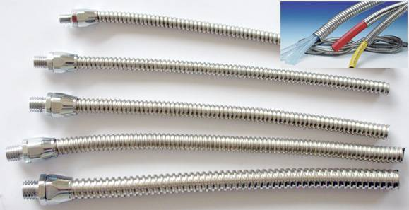 small bore Stainless Steel flexible Conduit for sensor cable protection