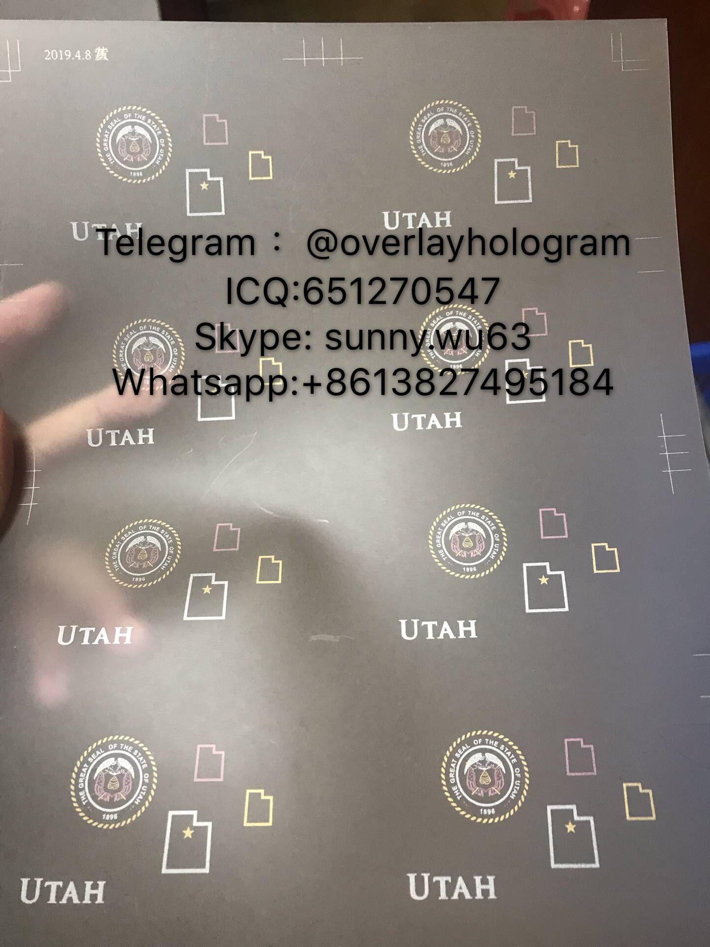Utah ID laminate sheet overlay state ovi sheet for Utah