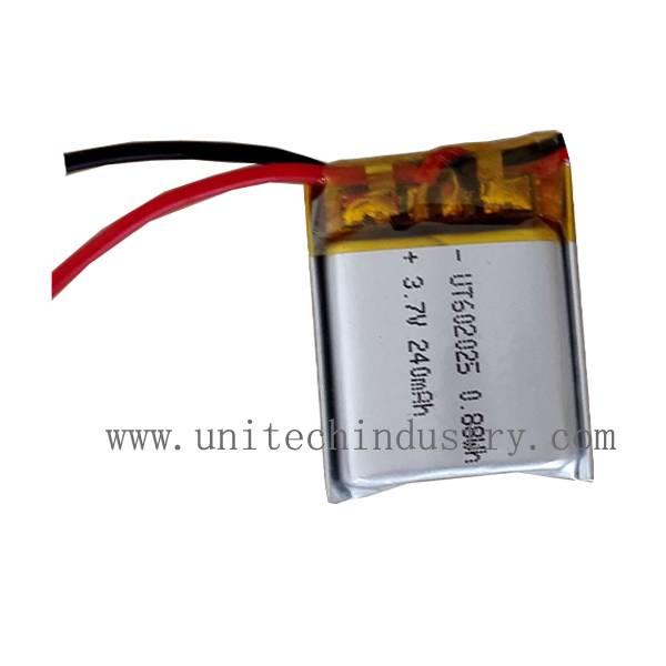 602025 Li-polymer battery 3.7V 240mAh lipo batteries