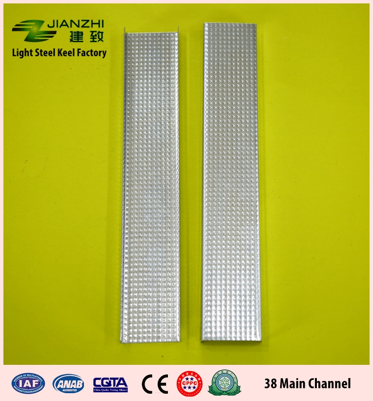 High quality 38/12mm rust proof galvanized steel main channel for ceiling and partition system