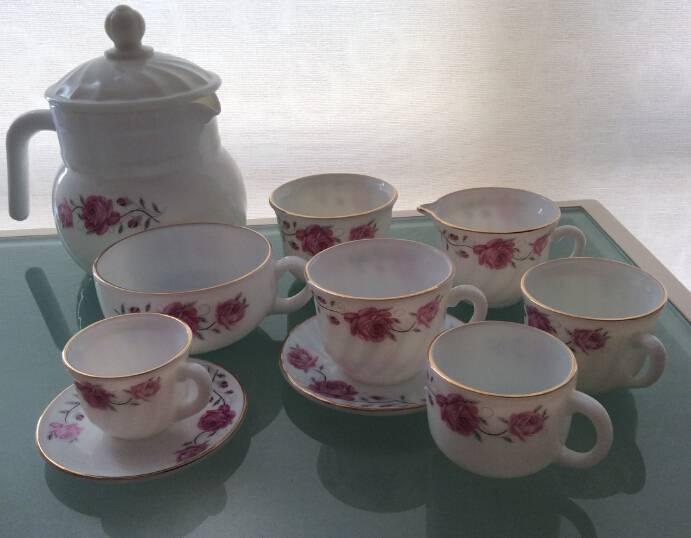 Cup Saucers Set Opal Glassware