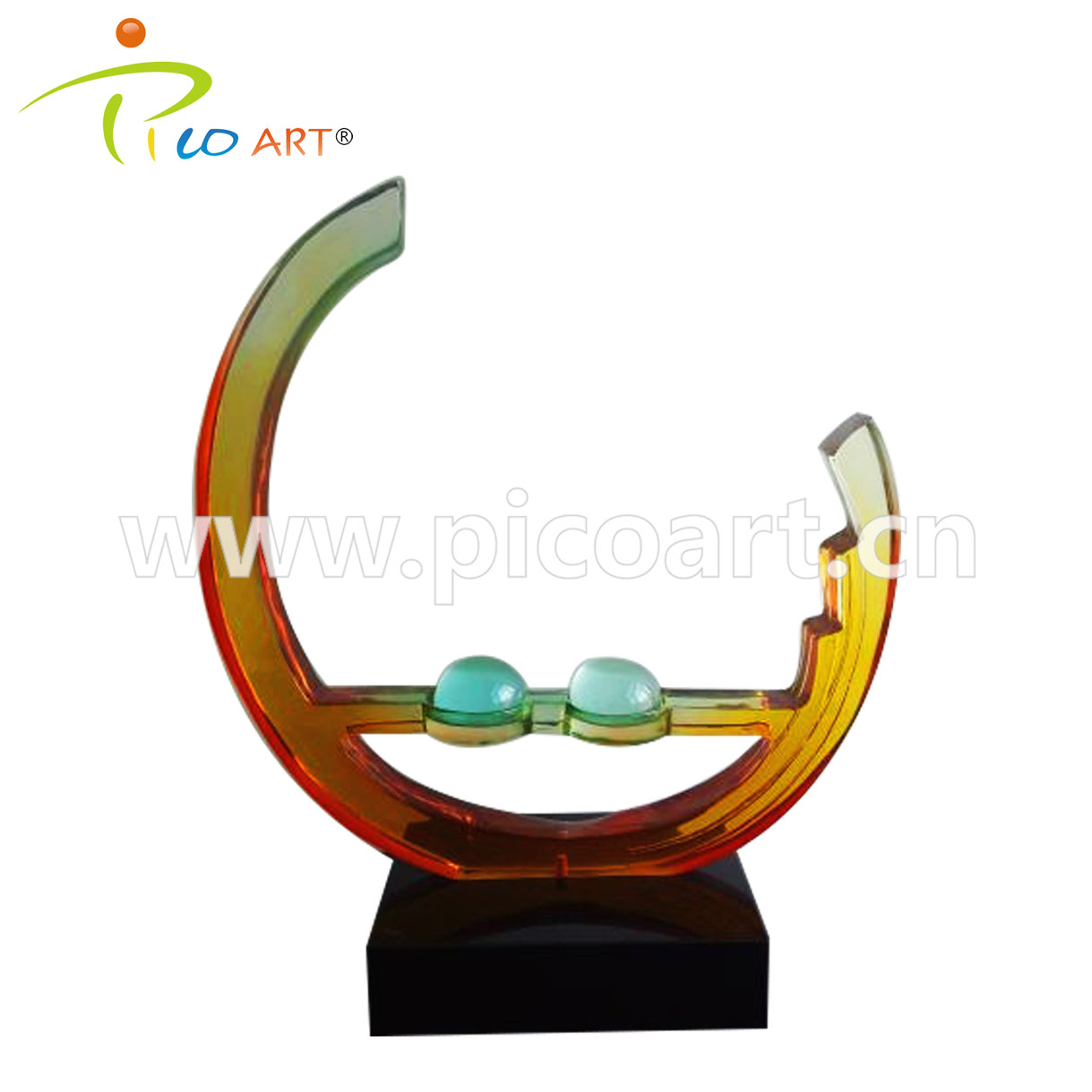Colorful Round Clear Epoxy Resin Abstract Modern Art Sculpture
