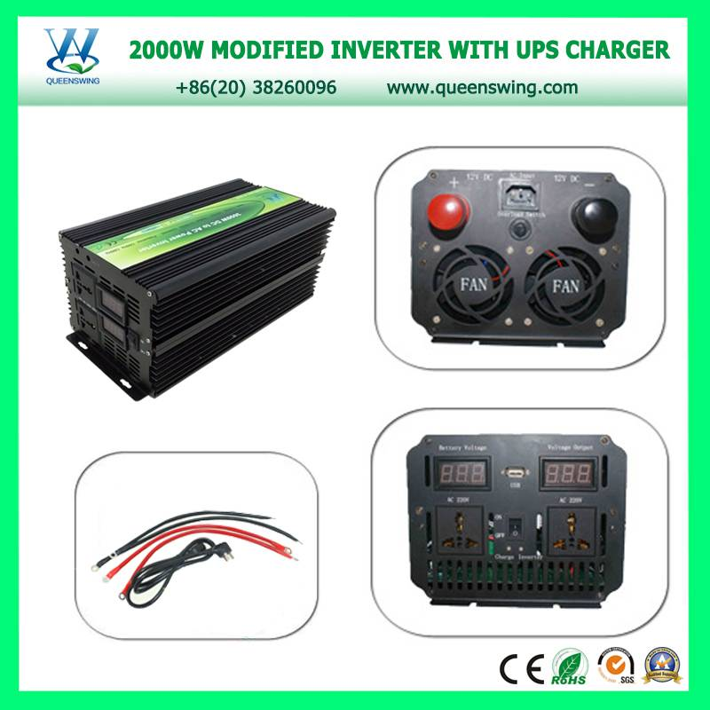 2000W DC12V to AC220V Quality Power Inverter with 15A Charger with UPS with Digital display