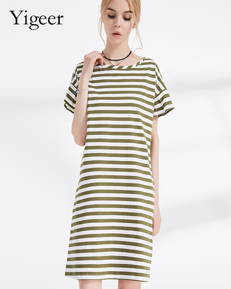 100% Cotton Short Sleeve O Neck Parallel Stripe Long Slimming Dress
