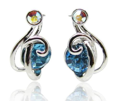 Wholesale Lolita style lovely earrings with Aquamarine Swarovski element secret garden series for la