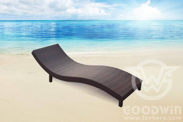 Outdoor Furniture Rattan S Shape Chaise Lounge