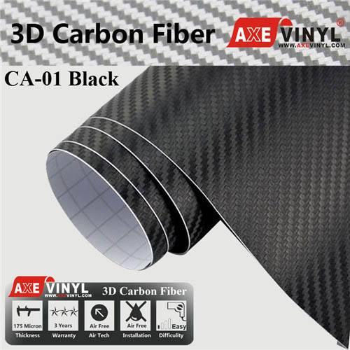 Axevinyl Factory Direct Sale Car Wrap Vinyl Premium Quality Black 3D Carbon Fiber Vinyl Wrap Film 1.