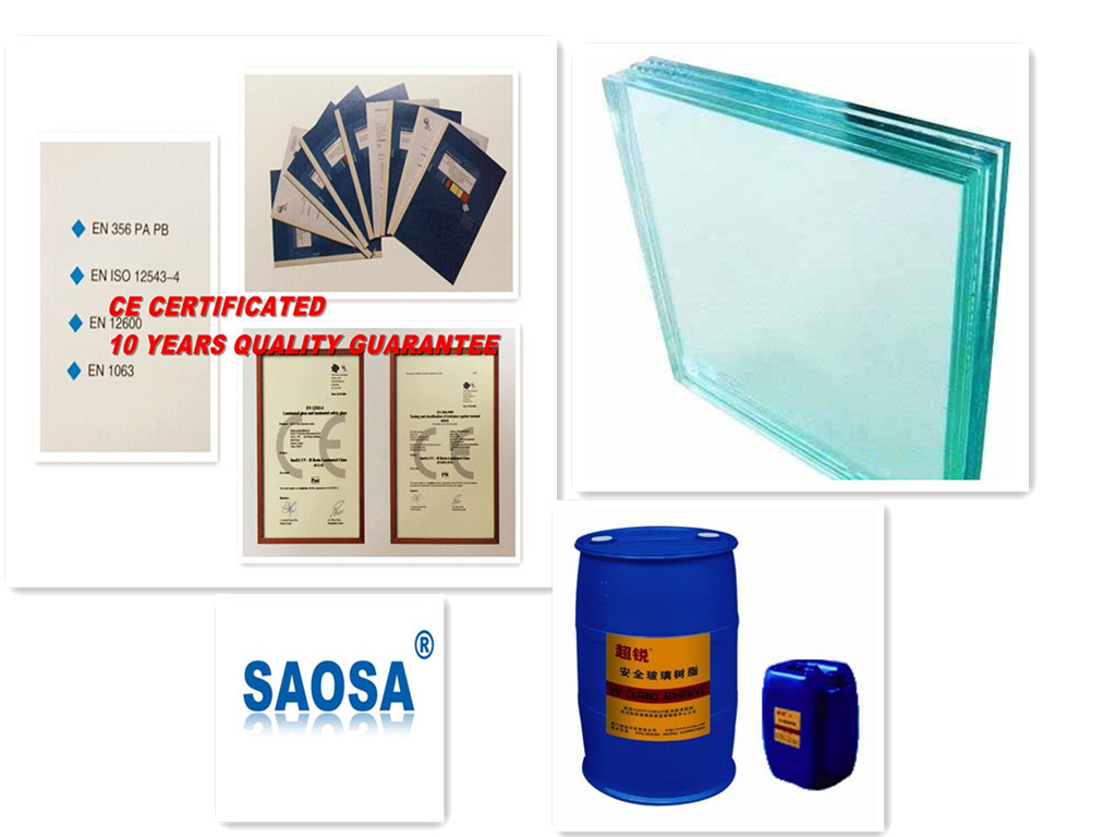 SAOSA tempered glass laminated resin with EN12600