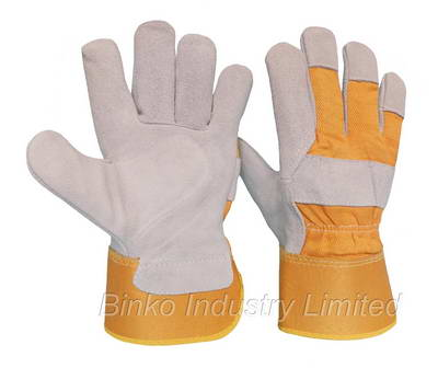 Sell cow split leather gloves with yellow rubberized cuff