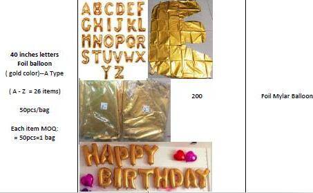 40 inch letters & alphabet & Numbers Foil Mylar Balloons