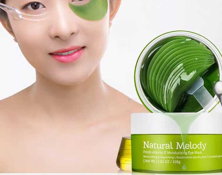 DE color eye mask is applied to the green princess to remove fine lines, bags and black circles unde