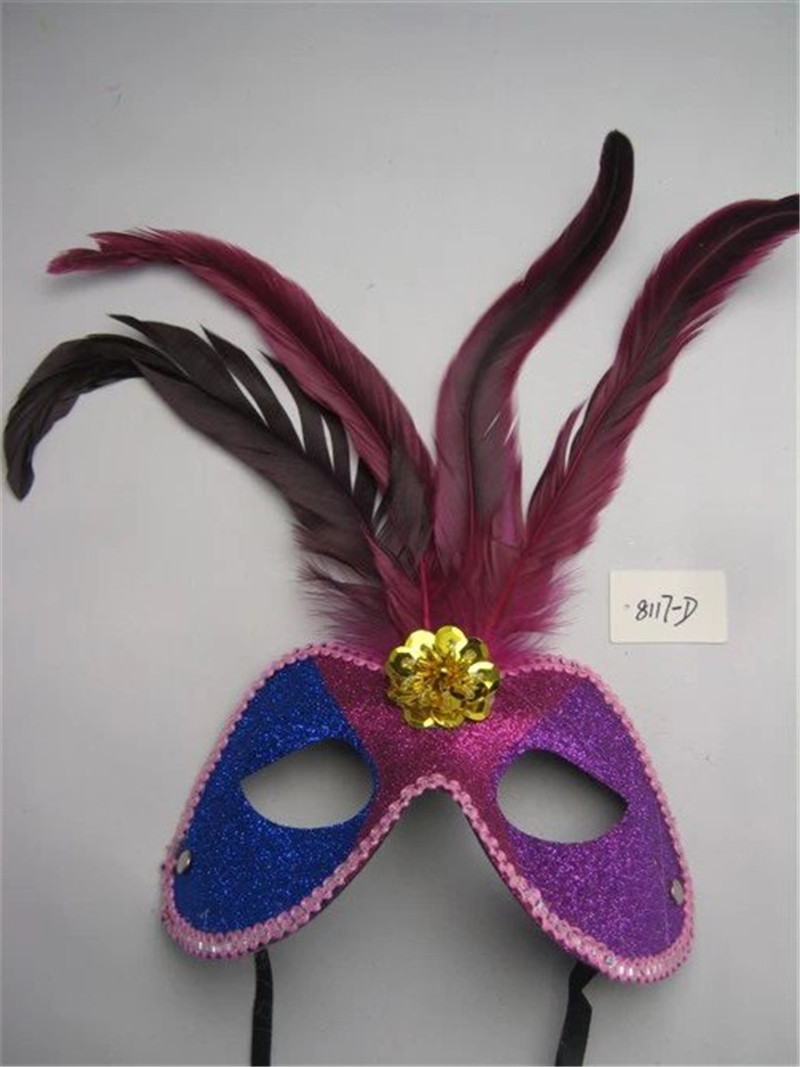Venetian Christmas Masquerade Party Mixed Colors Half Face Mask With Feather