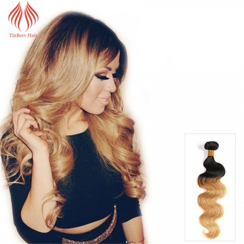 QUALITY CHEAP BODY WAVE BRAZILIAN HAIR OMBRE WEAVE TWO TONE REMY HUMAN HAIR EXTENSION COLOR #1B/27