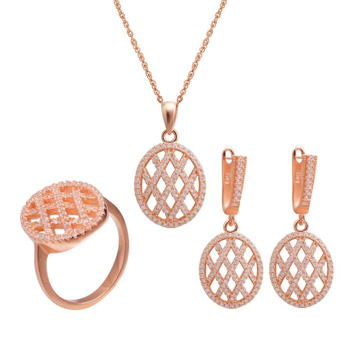 Rose Gold Color Sterling Silver Tennis Jewelry Set for Women